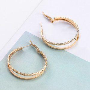 3/$20 Gold Double Hoop Earrings NEW